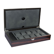 Underwood Macassar Wooden Watch Collector Case - Ten Large Watches