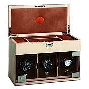 Underwood Maple Wood Watch Winder - The Three-Module with Jewelry Case