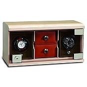 Underwood Maple Wood Watch Winder - Twin-Module Unit-Compartment Trays