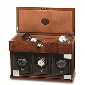 Underwood Briarwood Watch Winder - The Three-Module with Jewelry Case