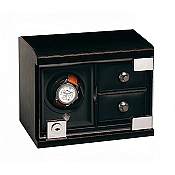 Underwood Rotobox Single Watch Winder Black Leather with Two Trays