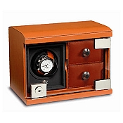 Underwood Rotobox Single Watch Winder Tan Leather with Two Trays