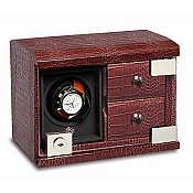 Underwood Rotobox Single Watch Winder Croco Leather with Two Trays