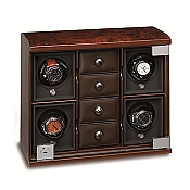 Underwood Briarwood Watch Winder Four-Module Unit - Compartment Trays