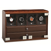 Underwood Briarwood Watch Winder - Four-Module Unit - Watch Trays