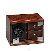 Underwood Briarwood Single Watch Winder with Two Trays