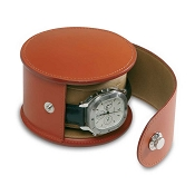 Underwood Leather Luxury Watch Travel Case - Round Single
