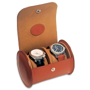Underwood Leather Luxury Watch Travel Case - Round Double