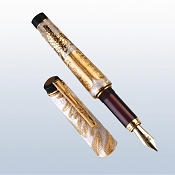 Urso Shavuot Mother of Pearl Enamel & Vermeil Fountain Pen  - Limited Edition
