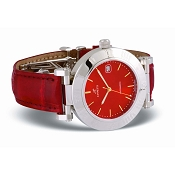 Zannetti Initial Soleil Automatic XL Red Dial Steel Watch