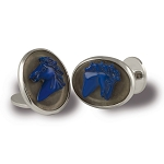 Zannetti Lapis & Crystal Horse Cameo Cufflinks