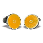 Zannetti Yellow Enamel Coin Cufflinks - Sterling Silver