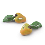 Zannetti Yellow Apple with Worm Cufflinks  - Sterling Silver