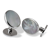 Zannetti Silver and White MOP Oval Cufflinks - Limited Edition