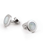 Zannetti White Mother of Pearl Round Cufflinks - Stainless Steel