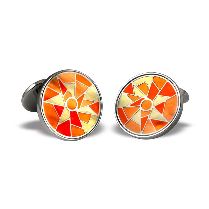 Zannetti Orange Yellow Harlequin Cufflinks