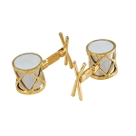 Zannetti Drum Cufflinks - Gold and Sterling Silver