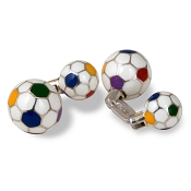 Zannetti Soccer Ball Cufflinks - Sterling Silver - Multicolor Enamel