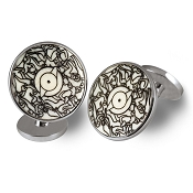 Zannetti Wheel Orgy Cufflinks - Sterling Silver & Bone