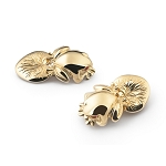 Zannetti Smooth Bull Frog Gold Cufflinks  - Leaf Back