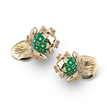 Zannetti Bull Frog Cufflinks - 18k Gold - Green Enamel Decor