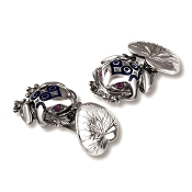 Zannetti Bull Frog Cufflinks  - Blue Decor - Sterling Silver