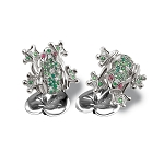 Zannetti Pond Frog with Stones Cufflinks - Sterling Silver