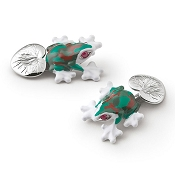 Zannetti Multicolor Curious Frog Cufflinks  - Sterling Silver