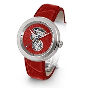Zannetti Discobolo Men's Watch – Red Enamel Dial & Stainless Steel Case
