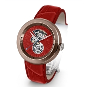 Zannetti Discobolo Men's Watch – Red Enamel Dial & Bronze Case