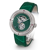 Zannetti Discobolo Men's Watch – Green Enamel Dial - Diamonds - Stainless Steel