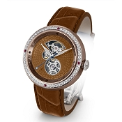 Zannetti Discobolo Men's Watch – Brown Enamel Dial - Diamonds - Bronze Case