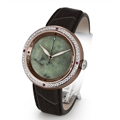 Zannetti Discobolo Men's Watch – Green Jade Dial - Diamonds - Bronze Case