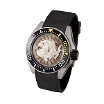 Zannetti Scuba Art Piranha Dive Watch - White Skeleton Dial & Steel