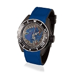 Zannetti Scuba Art Piranha Dive Watch - Blue Skeleton Dial & Black PVD