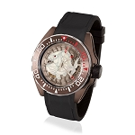 Zannetti Scuba Art Piranha Dive Watch - White Skeleton Dial & Brown PVD