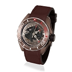 Zannetti Scuba Art Piranha Dive Watch - Black Skeleton Dial & Brown PVD