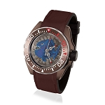 Zannetti Scuba Art Piranha Dive Watch - Blue Skeleton Dial & Brown PVD