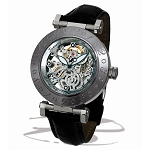 Zannetti Squelette XL Automatic Steel Skeleton Watch - Silver Movement