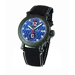 Zannetti Time of Drivers Racing Edition PVD Full Black Chrono Watch - Blue Dial