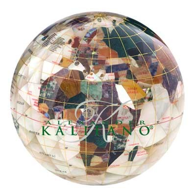 Mother of Pearl Diamond Cut Gemstone Globe Paperweight