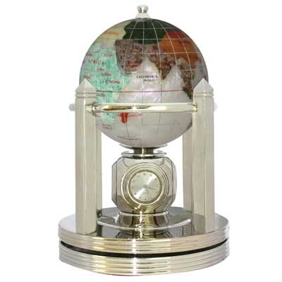 Opalite Gemstone Globe W/ Rotating Clock (G80BS-OPL)