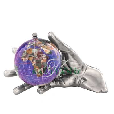 Bob World In Your Hand Gemstone Globe Paperweight - Silver