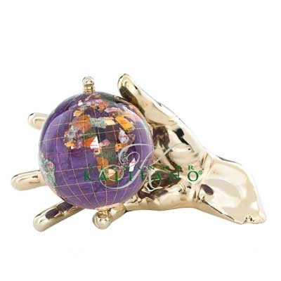 Bob World In Your Hand Gemstone Globe Paperweight - Gold