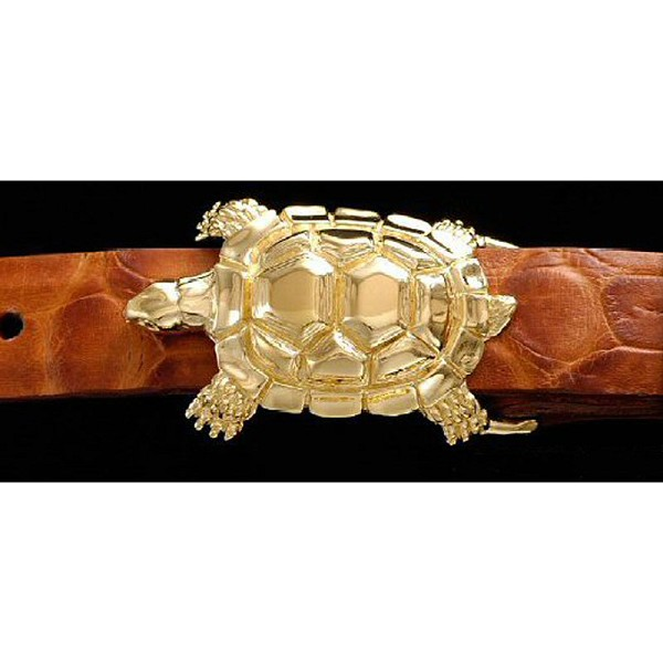 "1"" TURTLE Gold-Plated Sterling Silver Belt Buckle Set (RS61GP)"