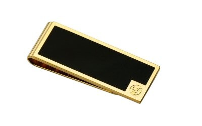 Black Lacquered Gilded Gold Square Money Clip