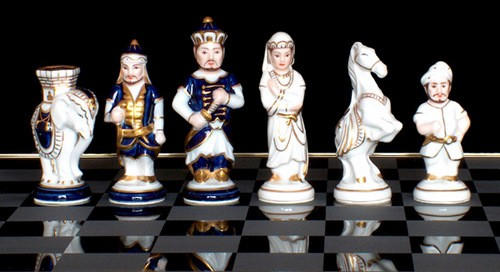 India Porcelain set in traditional colors of Cobalt Blue and White. Purchase complete set or chessmen only.
