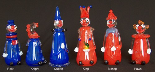 Large Clown Limited Editon Chess Set:  Custom produced in your choice of colors. Shown in blue and red.
