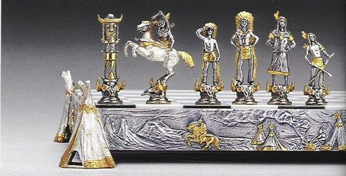 Indians (Native American) Gold and Silver Themed Chess Pieces