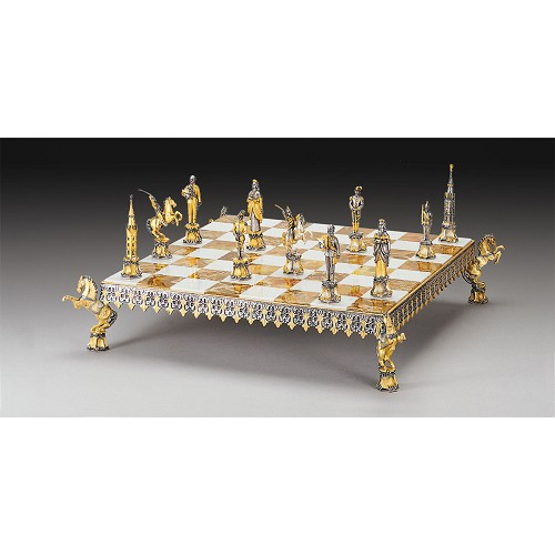 Habsburg - Franz Joseph I Emperor of Austria Chess Set completely handmade in 24k gold and silver finished solid bronze.